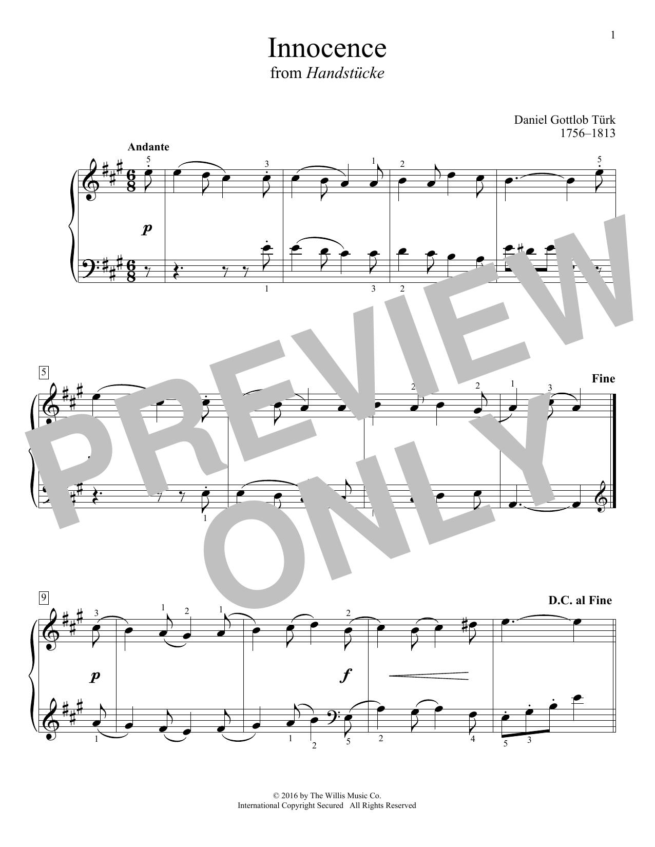Daniel Gottlob Türk Innocence sheet music notes and chords. Download Printable PDF.