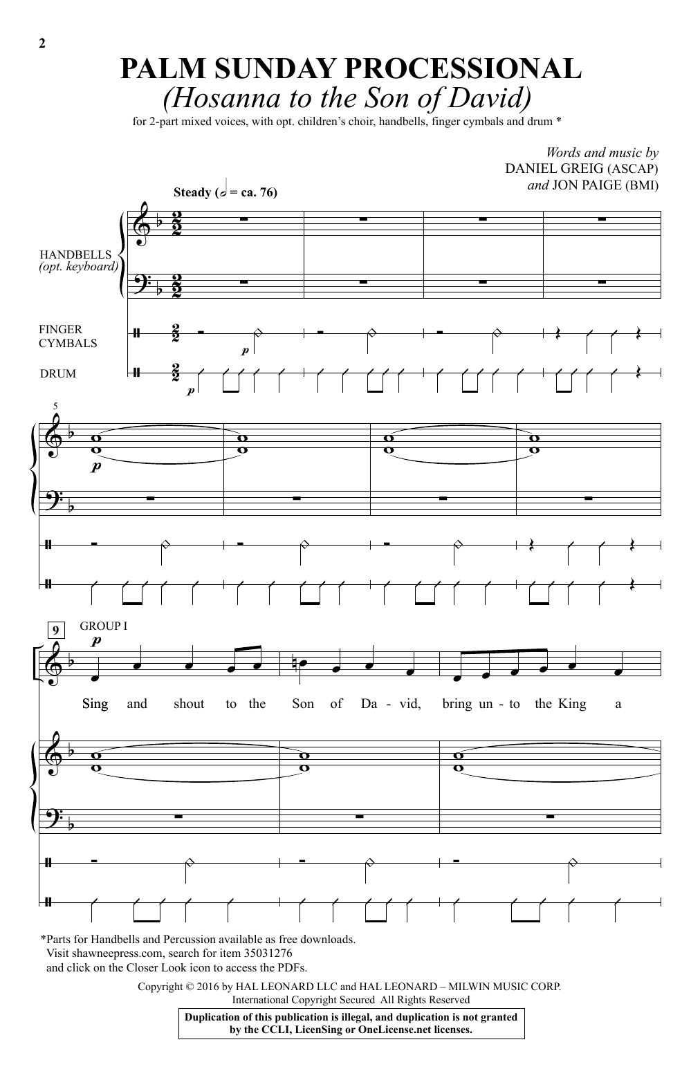 Daniel Greig Palm Sunday Processional (Hosanna To The Son Of David) sheet music notes and chords. Download Printable PDF.