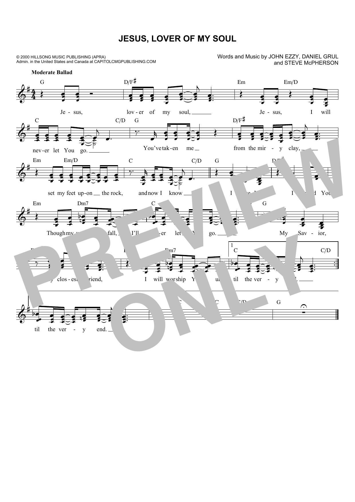 Daniel Grul Jesus, Lover Of My Soul sheet music notes and chords. Download Printable PDF.