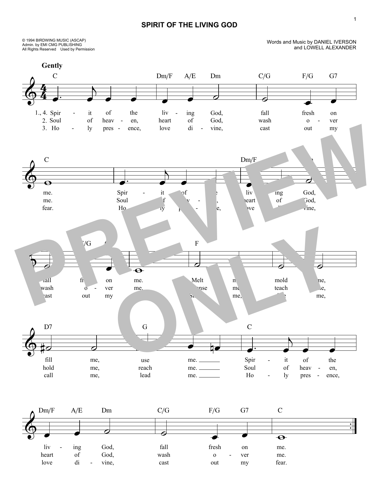 Daniel Iverson Spirit Of The Living God sheet music notes and chords. Download Printable PDF.