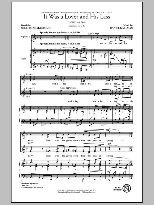 Daniel Kallman It Was A Lover And His Lass sheet music notes and chords. Download Printable PDF.