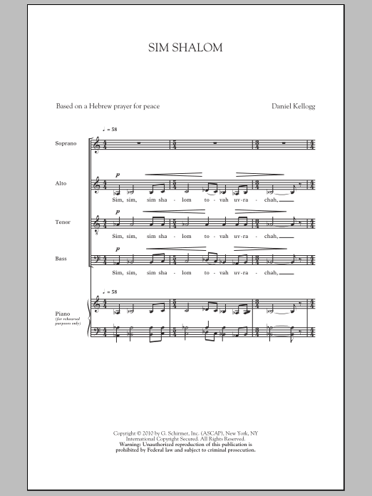 Daniel Kellogg Sim Shalom sheet music notes and chords. Download Printable PDF.