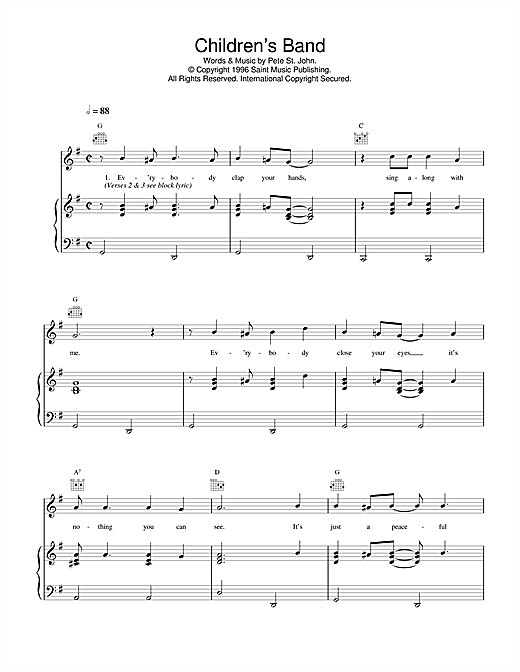 Daniel O'Donnell Children's Band sheet music notes and chords. Download Printable PDF.