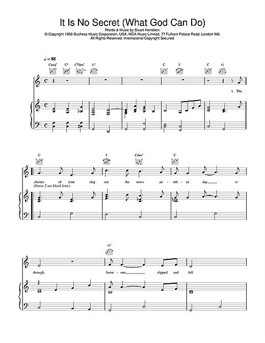 Daniel O'Donnell It Is No Secret (What God Can Do) sheet music notes and chords