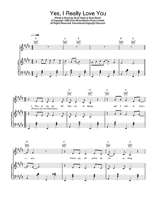Daniel O'Donnell Yes, I Really Love You sheet music notes and chords