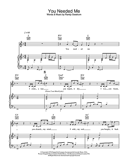 Daniel O'Donnell You Needed Me sheet music notes and chords. Download Printable PDF.