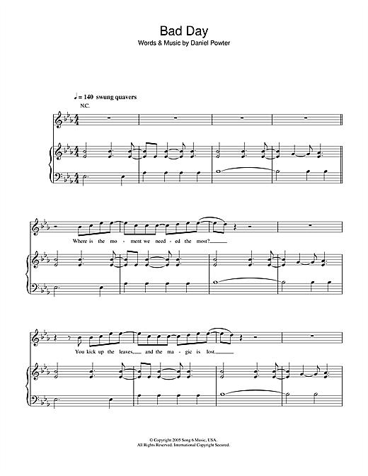 Daniel Powter Bad Day sheet music notes and chords. Download Printable PDF.