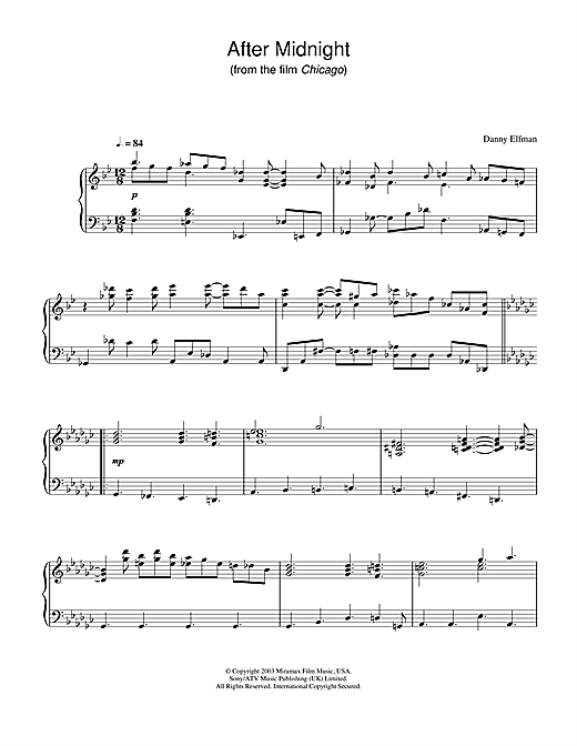 Danny Elfman After Midnight (from Chicago) sheet music notes and chords