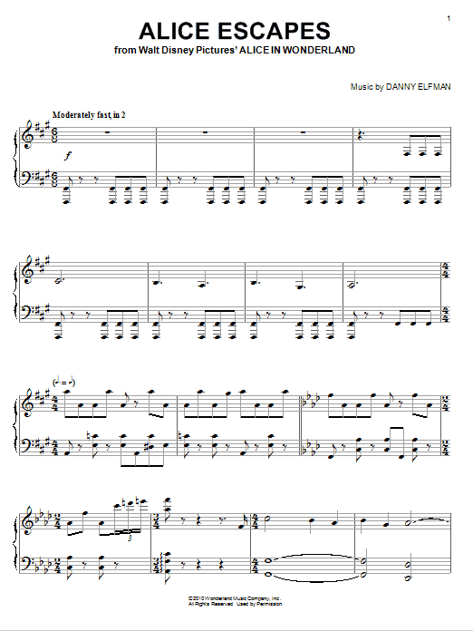 Danny Elfman Alice Escapes sheet music notes and chords. Download Printable PDF.