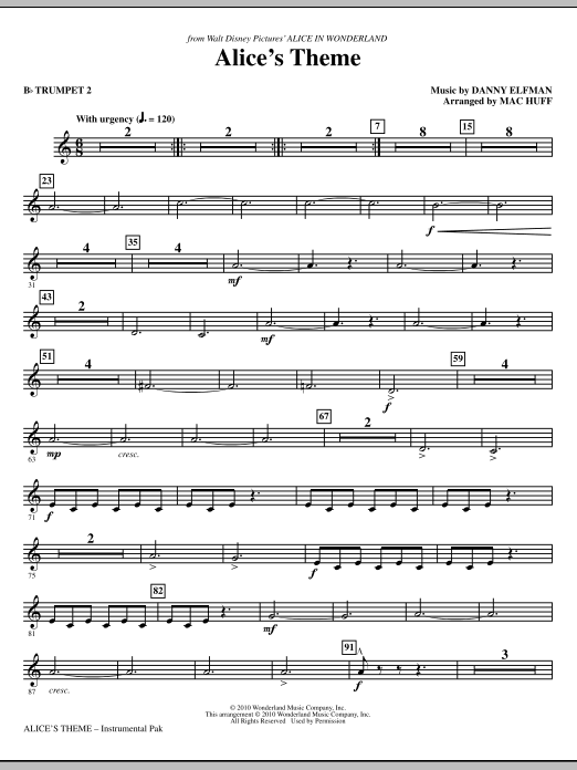 Danny Elfman Alice's Theme (from Alice In Wonderland) (arr. Mac Huff) - Bb Trumpet 2 sheet music notes and chords. Download Printable PDF.