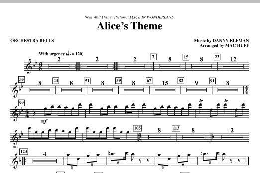Danny Elfman Alice's Theme (from Alice In Wonderland) (arr. Mac Huff) - Bells sheet music notes and chords. Download Printable PDF.