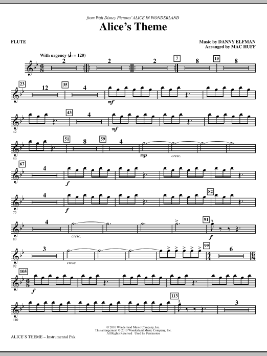 Danny Elfman Alice's Theme (from Alice In Wonderland) (arr. Mac Huff) - Flute sheet music notes and chords. Download Printable PDF.