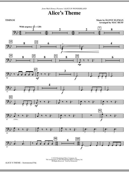 Danny Elfman Alice's Theme (from Alice In Wonderland) (arr. Mac Huff) - Timpani sheet music notes and chords. Download Printable PDF.
