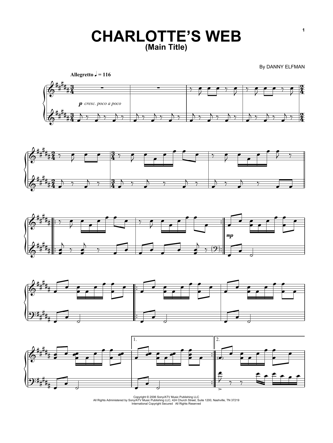 Danny Elfman Charlotte's Web Main Title sheet music notes and chords