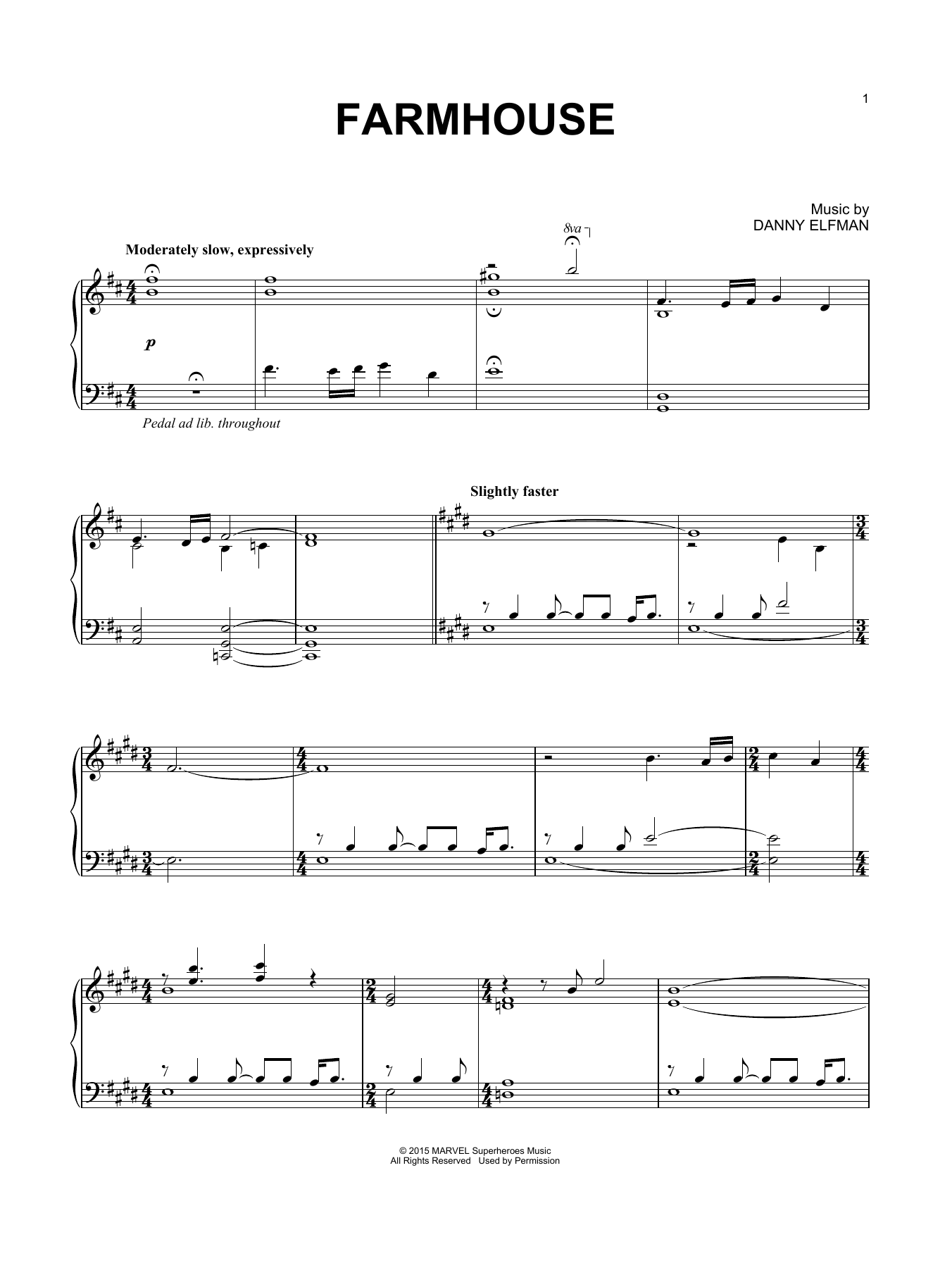 Danny Elfman Farmhouse sheet music notes and chords