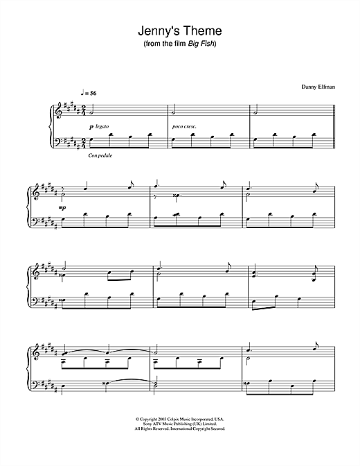 Danny Elfman Jenny's Theme (from Big Fish) sheet music notes and chords