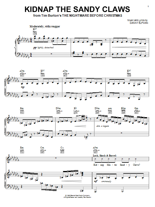 Danny Elfman Kidnap The Sandy Claws (from The Nightmare Before Christmas) sheet music notes and chords. Download Printable PDF.