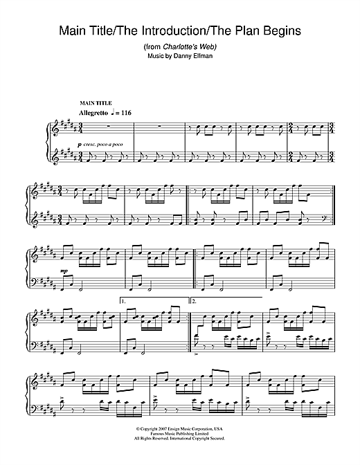 Danny Elfman Main Title/The Introduction/The Plan Begins (from Charlotte's Web) sheet music notes and chords