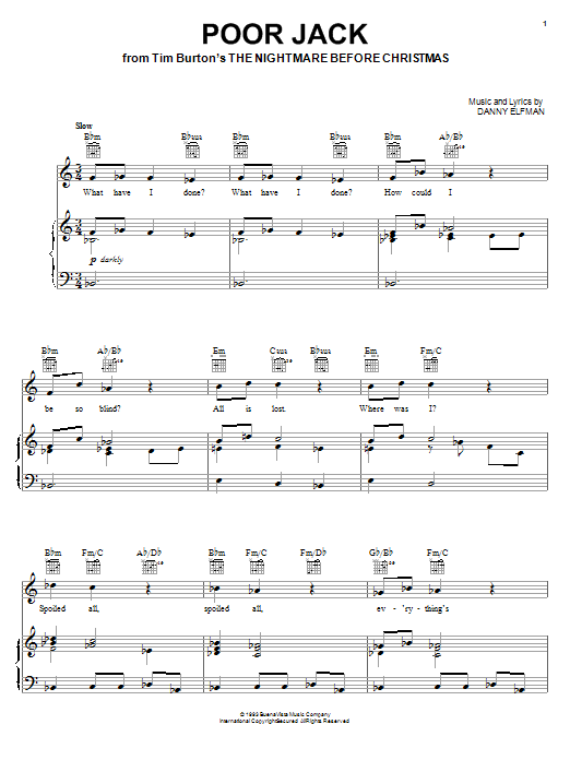 Danny Elfman Poor Jack (from The Nightmare Before Christmas) sheet music notes and chords