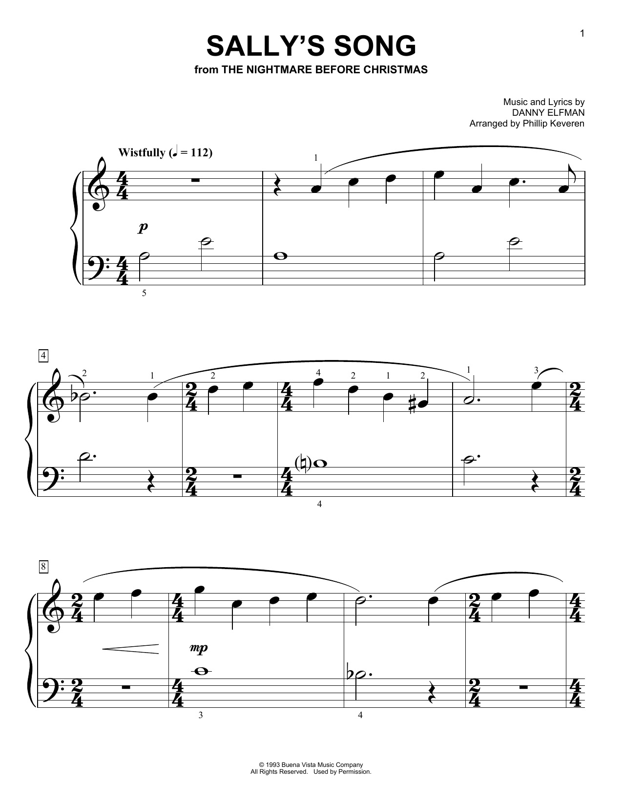 Danny Elfman Sally's Song (from The Nightmare Before Christmas) (arr. Phillip Keveren) sheet music notes and chords. Download Printable PDF.