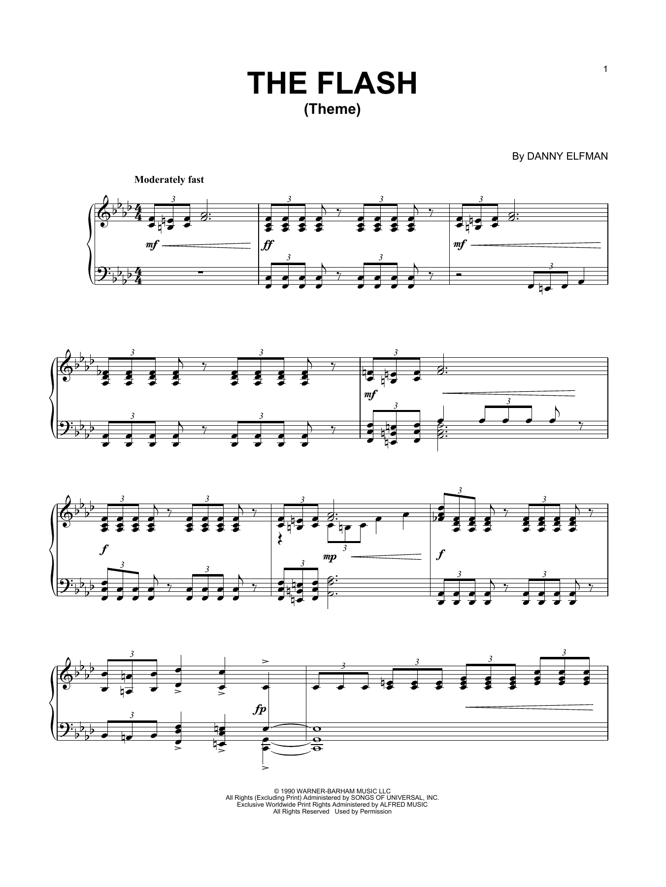 Danny Elfman Theme From The Flash sheet music notes and chords