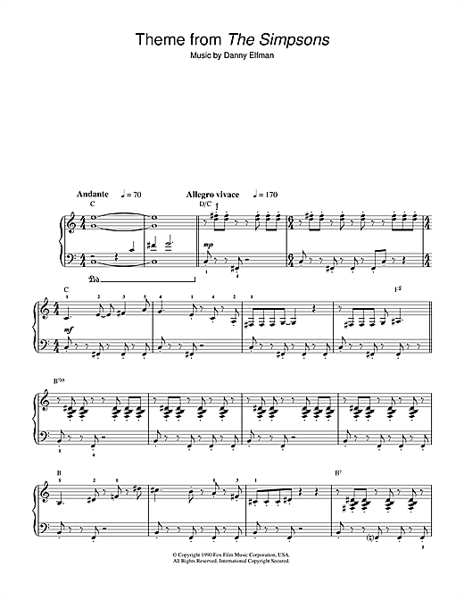 Danny Elfman Theme From The Simpsons sheet music notes and chords. Download Printable PDF.