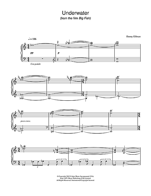 Danny Elfman Underwater (from Big Fish) sheet music notes and chords. Download Printable PDF.
