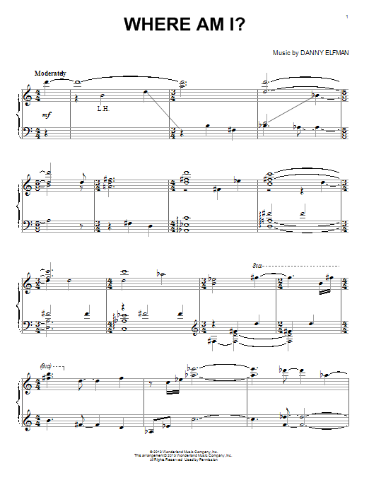 Danny Elfman Where Am I? sheet music notes and chords. Download Printable PDF.