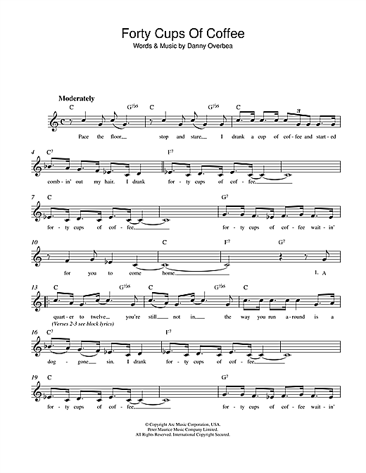 Danny Overbea Forty Cups Of Coffee sheet music notes and chords. Download Printable PDF.
