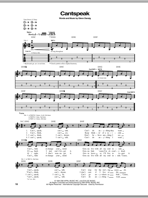 Danzig Cantspeak sheet music notes and chords. Download Printable PDF.