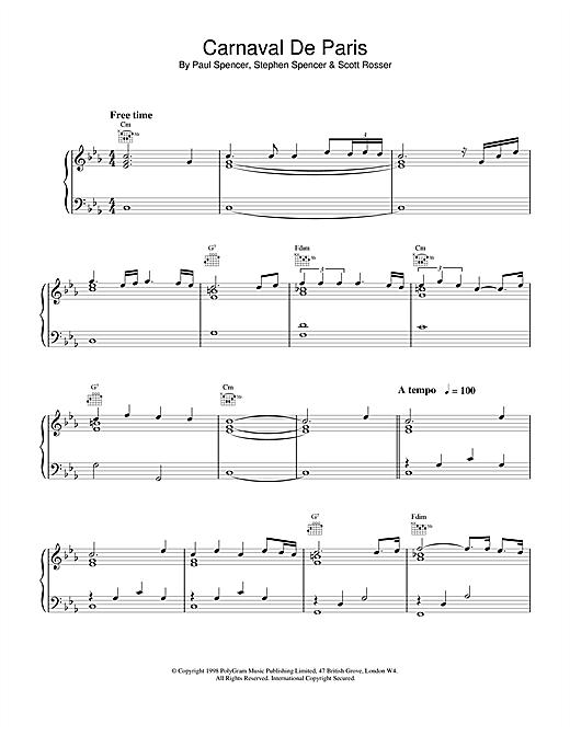Dario G Carnaval de Paris (World Cup '98) sheet music notes and chords. Download Printable PDF.