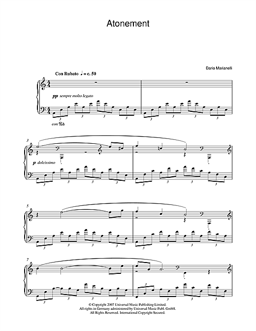 Dario Marianelli Atonement sheet music notes and chords