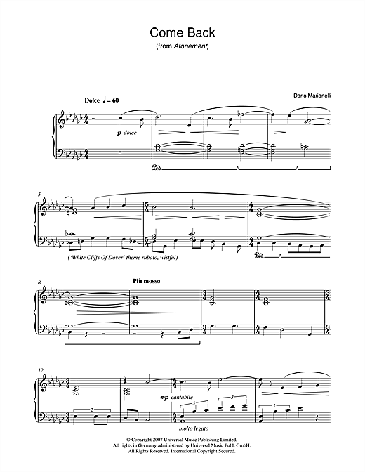 Dario Marianelli Come Back (from Atonement) sheet music notes and chords