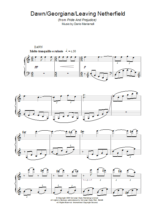 Dario Marianelli Dawn/Georgiana (theme from Pride And Prejudice) sheet music notes and chords. Download Printable PDF.