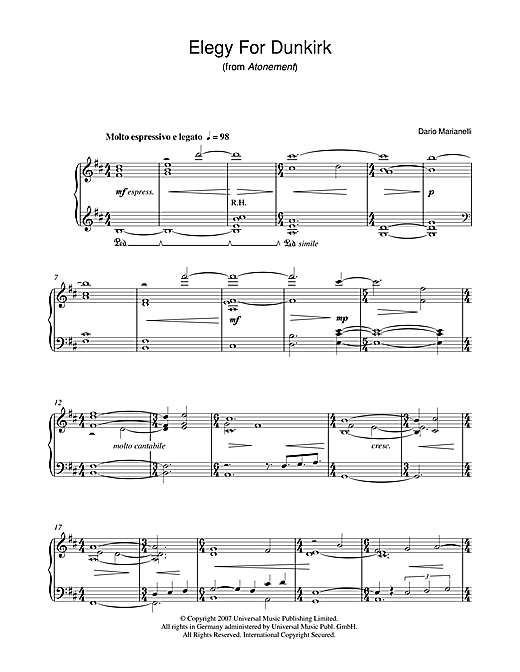Dario Marianelli Elegy For Dunkirk (from Atonement) sheet music notes and chords