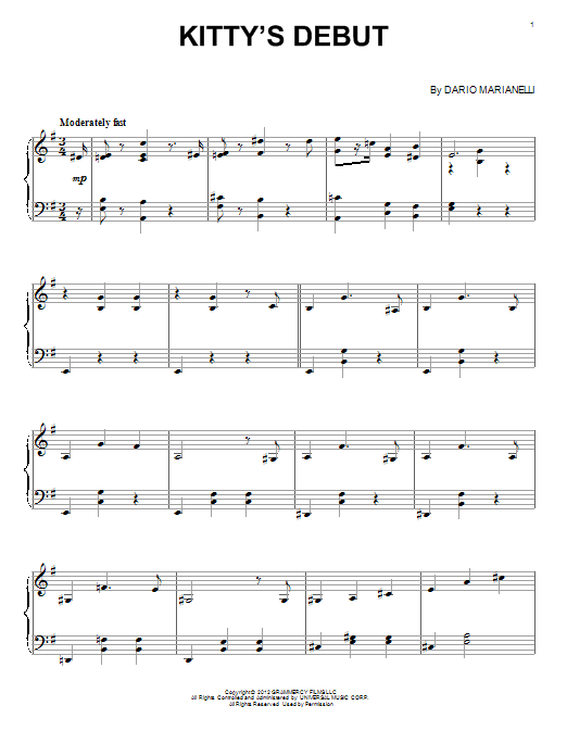 Dario Marianelli Kitty's Debut sheet music notes and chords