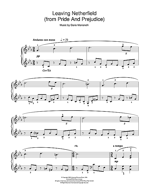 Dario Marianelli Leaving Netherfield (from Pride And Prejudice) sheet music notes and chords. Download Printable PDF.