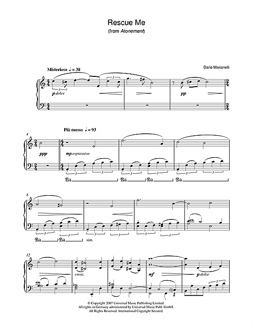 Dario Marianelli Rescue Me (from Atonement) sheet music notes and chords