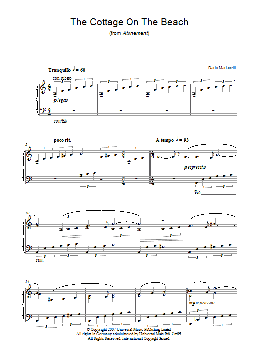 Dario Marianelli The Cottage On The Beach (from Atonement) sheet music notes and chords. Download Printable PDF.