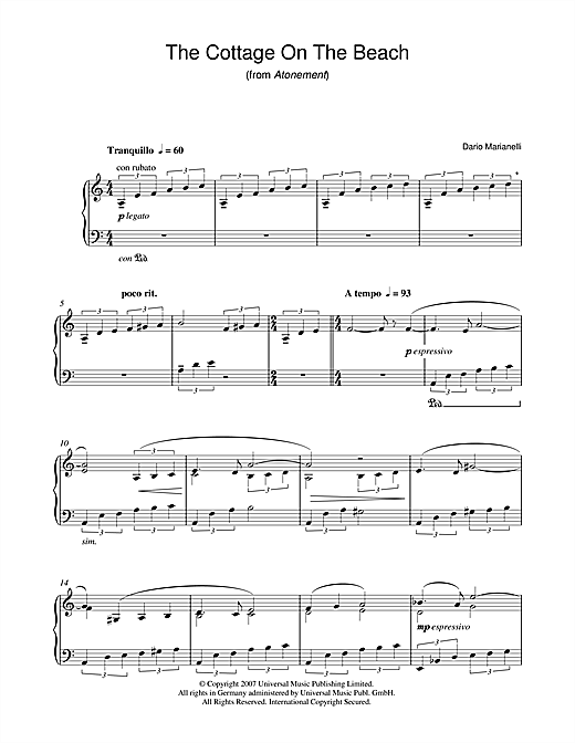 Dario Marianelli The Cottage On The Beach (from Atonement) sheet music notes and chords