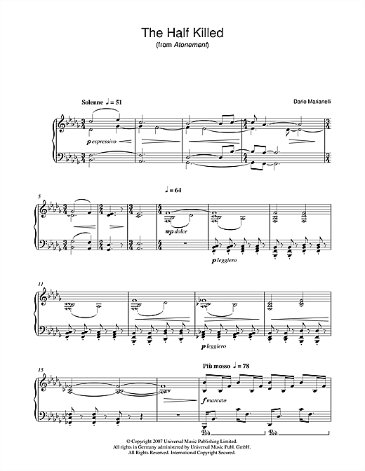 Dario Marianelli The Half Killed (from Atonement) sheet music notes and chords