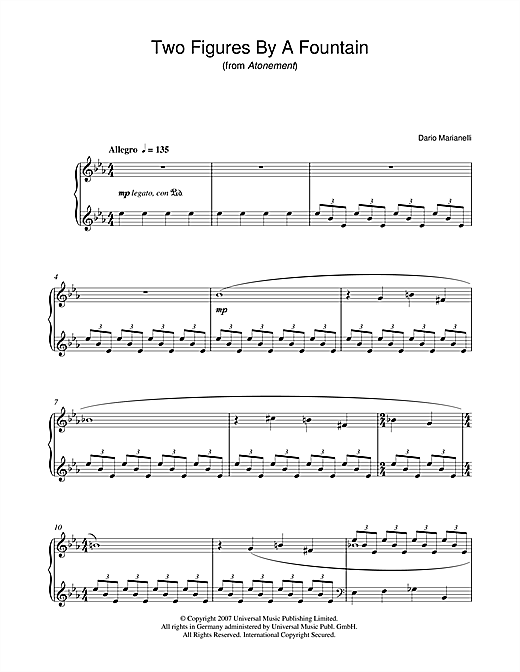 Dario Marianelli Two Figures By A Fountain (from Atonement) sheet music notes and chords