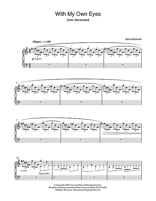 Dario Marianelli With My Own Eyes (from Atonement) sheet music notes and chords