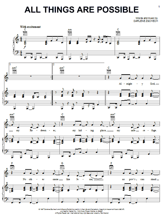 Darlene Zschech All Things Are Possible sheet music notes and chords