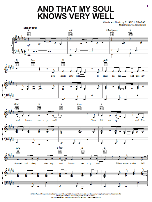Darlene Zschech And That My Soul Knows Very Well sheet music notes and chords. Download Printable PDF.