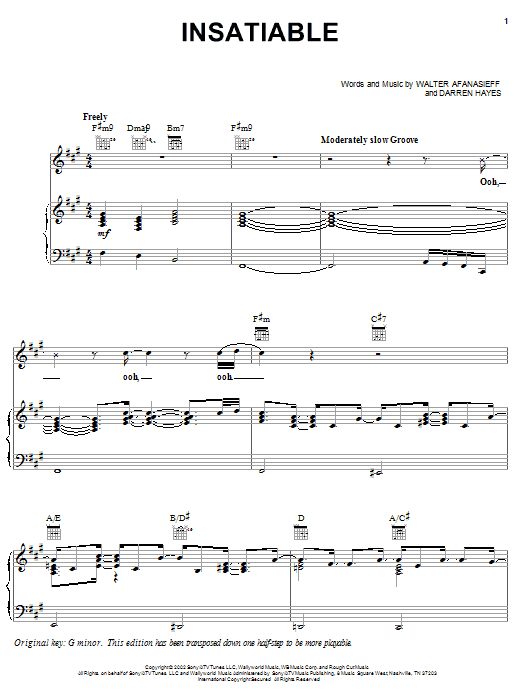 Darren Hayes Insatiable sheet music notes and chords