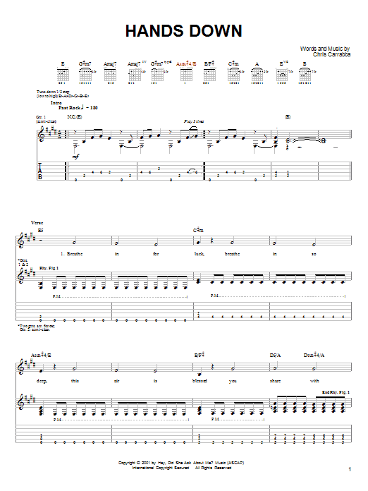 Dashboard Confessional Hands Down sheet music notes and chords. Download Printable PDF.