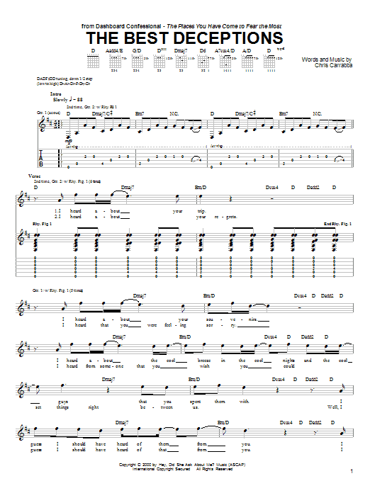 Dashboard Confessional The Best Deceptions sheet music notes and chords. Download Printable PDF.