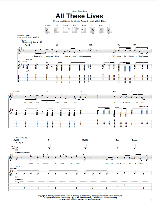 Daughtry All These Lives sheet music notes and chords. Download Printable PDF.
