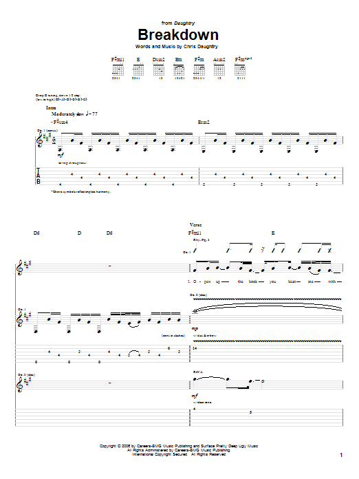 Daughtry Breakdown sheet music notes and chords. Download Printable PDF.